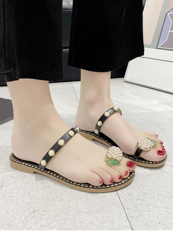 outfits Toe Loop Pineapple Faux Pearl Slides Sandals - BLACK EU 40