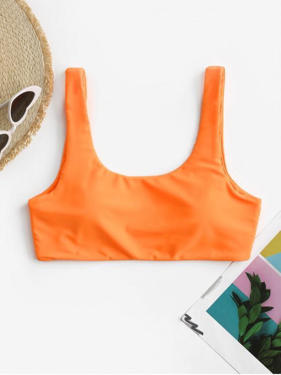 shops ZAFUL Scoop Neck Padded Tank Bikini Top - DARK ORANGE S