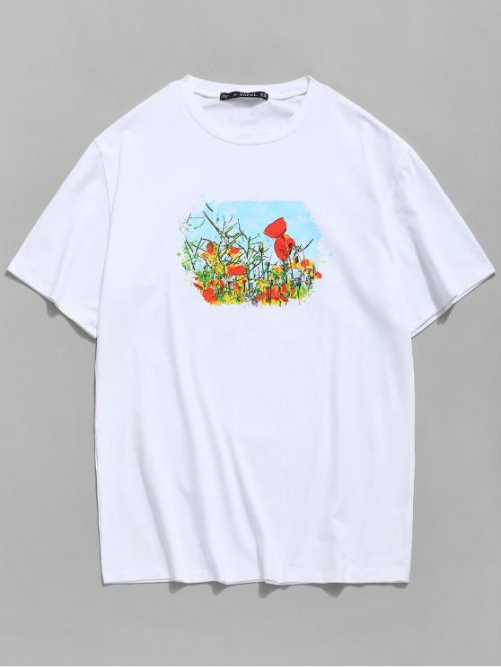 Rundhals T-Shirt mit Blumen Felddruck - Weiß S