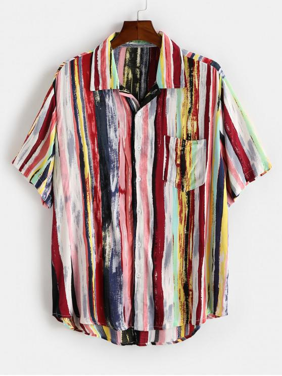new Colorful Striped Print Curved Hem Pocket Shirt - DEEP RED M