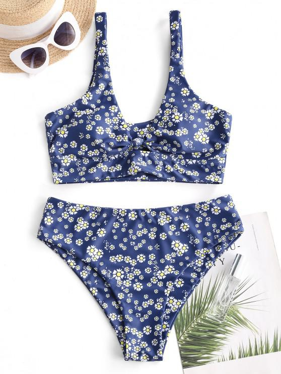 new ZAFUL Floral Knot Keyhole Tankini Swimwear - DEEP BLUE S