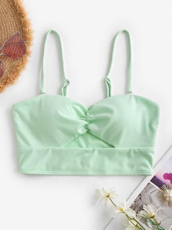 lady ZAFUL Ribbed Gathered Cut Out Bikini Top - LIGHT GREEN S