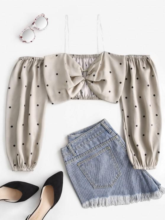 Polka Dot Heart Ring Crop Blouse - القهوة الخفيفة S