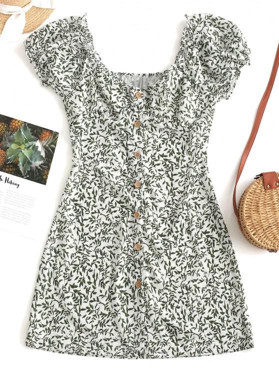 sale Leaves Print Button Up Mini Dress - GREEN S