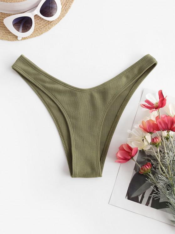 women's ZAFUL Ribbed High Leg Bikini Bottom - LIGHT GREEN S