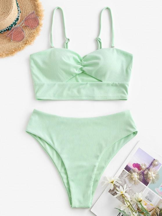 affordable ZAFUL Cut Out Ribbed High Cut Tankini Swimwear - LIGHT GREEN L