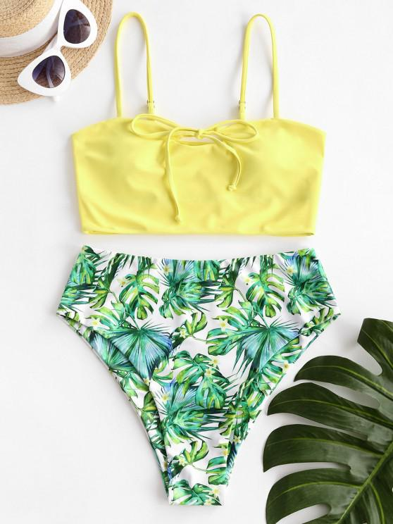 best ZAFUL Tie Palm Leaf Tropical Tankini Swimwear - YELLOW S