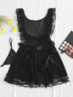 Lace And Mesh Tiered Flounce Babydoll Set - Black