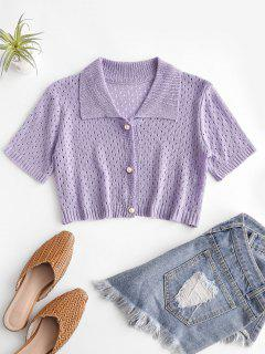 Eyelet Pearly Button Up Knitted Top - Purple Mimosa