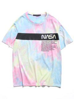 Letter Tie Dye Print Short Sleeve T-shirt - Light Blue L