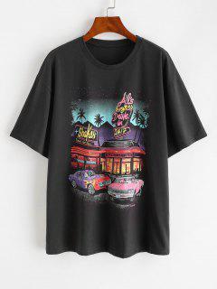 Drop Shoulder Letter Car Print Tunic T-shirt - Gray