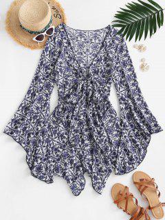 Flower Print Flare Sleeve Tie Front Romper - Blue M