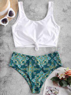 ZAFUL Knot Paisley Print Tankini Swimsuit - Peacock Blue L
