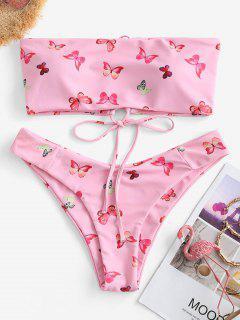 ZAFUL Butterfly Print Lace Up Bandeau Bikini Swimwear - Light Pink S