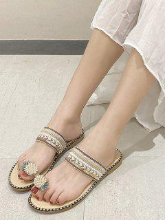 Pineapple Toe Ring Faux Pearl Slides Sandals - Beige Eu 40