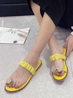 Pineapple Toe Ring Flat Slides - Bee Yellow Eu 40