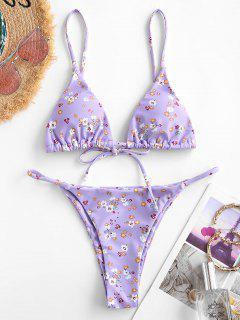 ZAFUL Ditsy Print String Bikini Swimsuit - Light Purple M