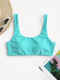 ZAFUL Scoop Neck Padded Tank Bikini Top - Light Blue M