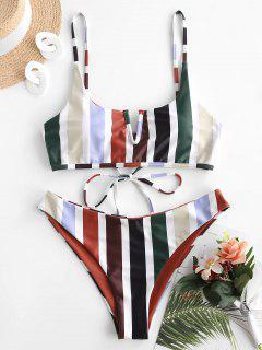 ZAFUL V-wired Reversible Striped Bikini Set - Deep Red S