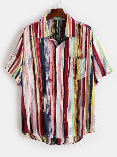Colorful Striped Print Curved Hem Pocket Shirt - Deep Red Xl