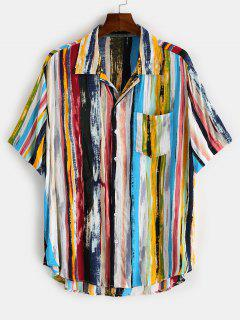 Colorful Striped Print Curved Hem Pocket Shirt - Light Blue Xl