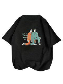 Camiseta Básica Con Estampado De Letras Y De Dibujo Animado Para Hombres - Negro Xs