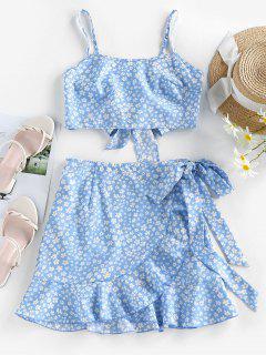ZAFUL Robe Fleurie Imprimée Nouée Deux Pièces - Bleu De Ciel  Xl