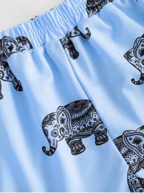 fancy High Waisted Elephant Print Dolphin Shorts - BLUE S Mobile