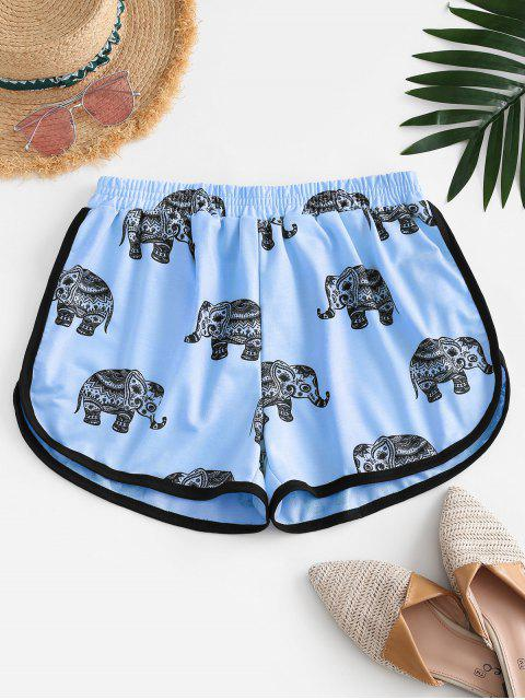 unique High Waisted Elephant Print Dolphin Shorts - BLUE M Mobile