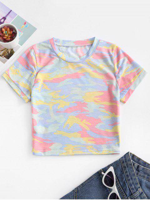 shops Camouflage Crop Short Sleeves Tee - GREEN S Mobile