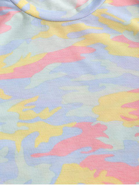 T-shirt Court Camouflage à Manches Courtes - Vert XL Mobile