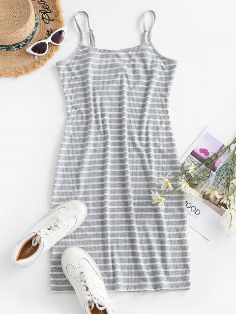 affordable Striped Ribbed Bodycon Cami Dress - LIGHT GRAY L Mobile
