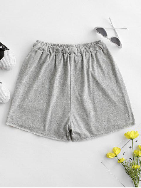 women Drawstring Marled Pull On Shorts - LIGHT GRAY S Mobile
