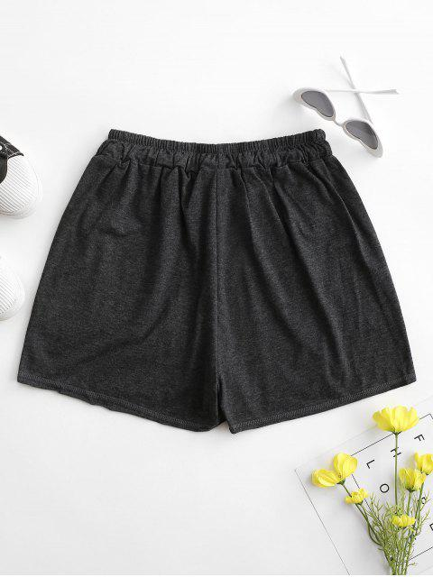 women Drawstring Marled Pull On Shorts - DARK GRAY M Mobile