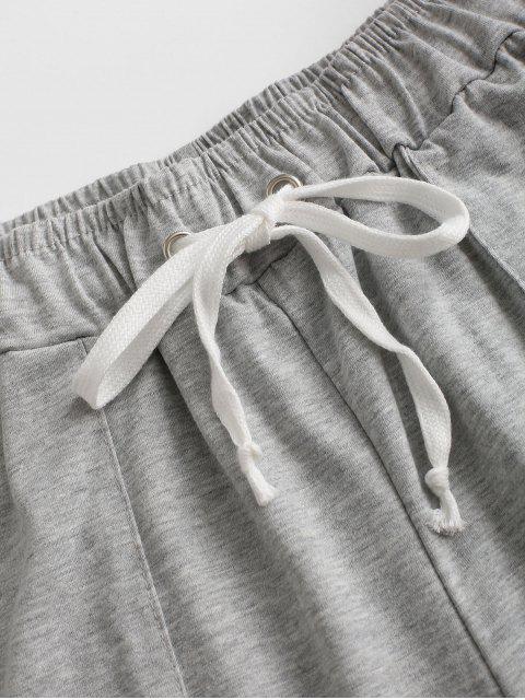 online Drawstring Marled Pull On Shorts - LIGHT GRAY L Mobile