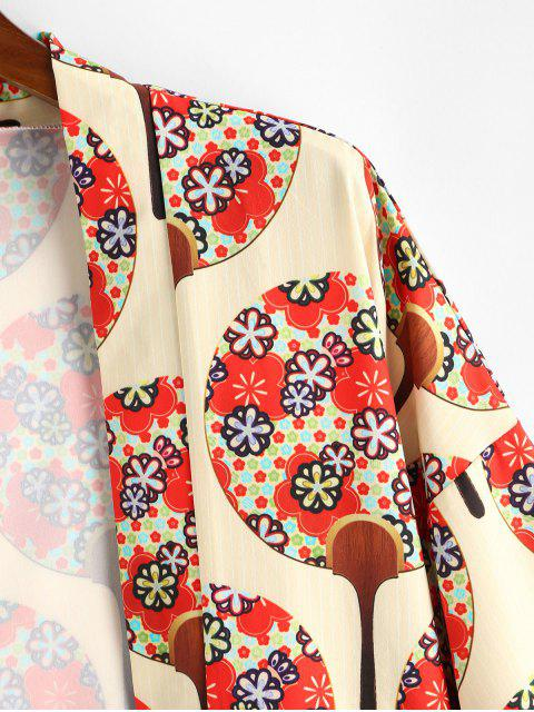 ladies Floral Fan Print Open Front Kimono Cardigan - MULTI-A S Mobile