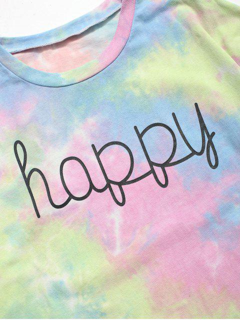 trendy Tie Dye Happy Print T-shirt - LIGHT BLUE 2XL Mobile