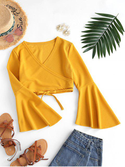 affordable Cropped Tie Waist Flare Sleeve Blouse - YELLOW M Mobile