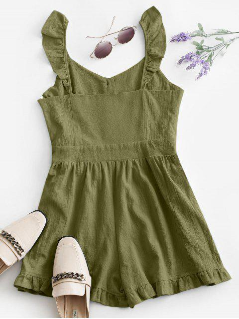 womens Ruffle Button Placket Romper - GREEN S Mobile