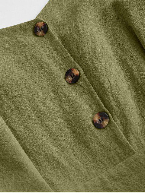 women's Ruffle Button Placket Romper - GREEN L Mobile