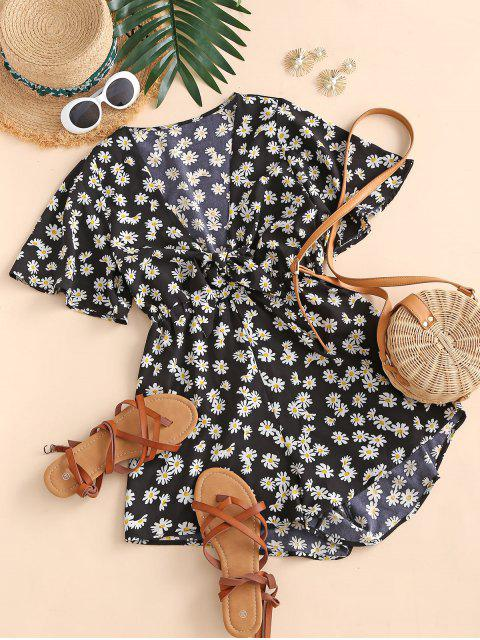 shop Elastic Waist Daisy Print Tie Front Romper - BLACK L Mobile