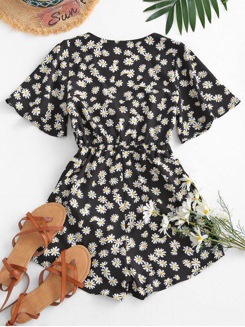 ladies Elastic Waist Daisy Print Tie Front Romper - BLACK M Mobile