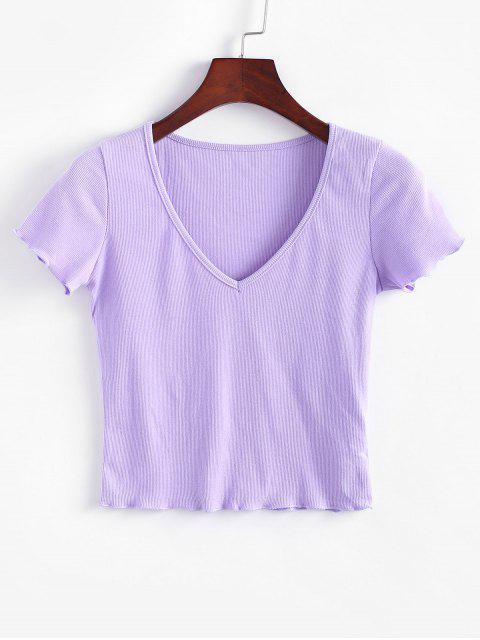 Einfarbiges Geripptes T-Shirt mit V Ausschnitt - Lila M Mobile