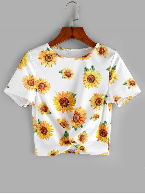 women ZAFUL Sunflower Print  Front Twist Cropped T Shirt - WHITE S Mobile