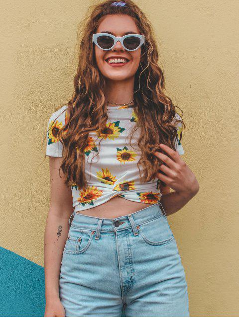 unique ZAFUL Sunflower Print  Front Twist Cropped T Shirt - WHITE XL Mobile