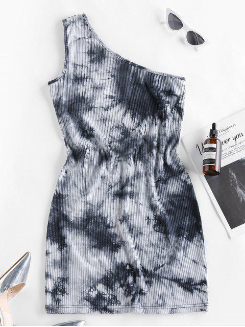 women's ZAFUL Tie Dye One Shoulder Bodycon Dress - BLACK L Mobile