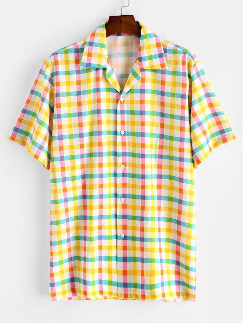 buy Colorful Gingham Print Camp Collar Shirt - CORN YELLOW M Mobile
