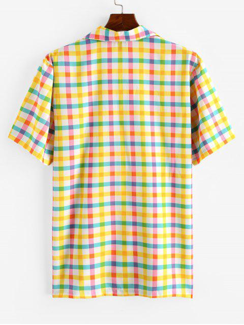 women's Colorful Gingham Print Camp Collar Shirt - CORN YELLOW 2XL Mobile
