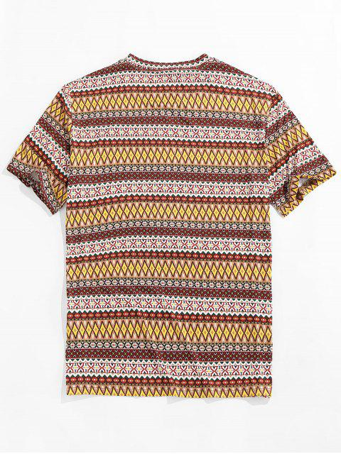 ZAFUL Allover Tribal Print Round Neck T-shirt - متعدد 2XL Mobile