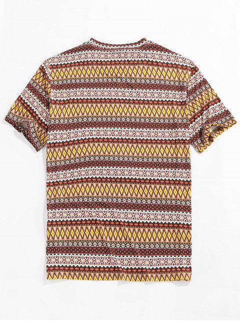 T-Shirt a Girocollo con Stampa Tribale di ZAFUL - Multi Colori 2XL Mobile
